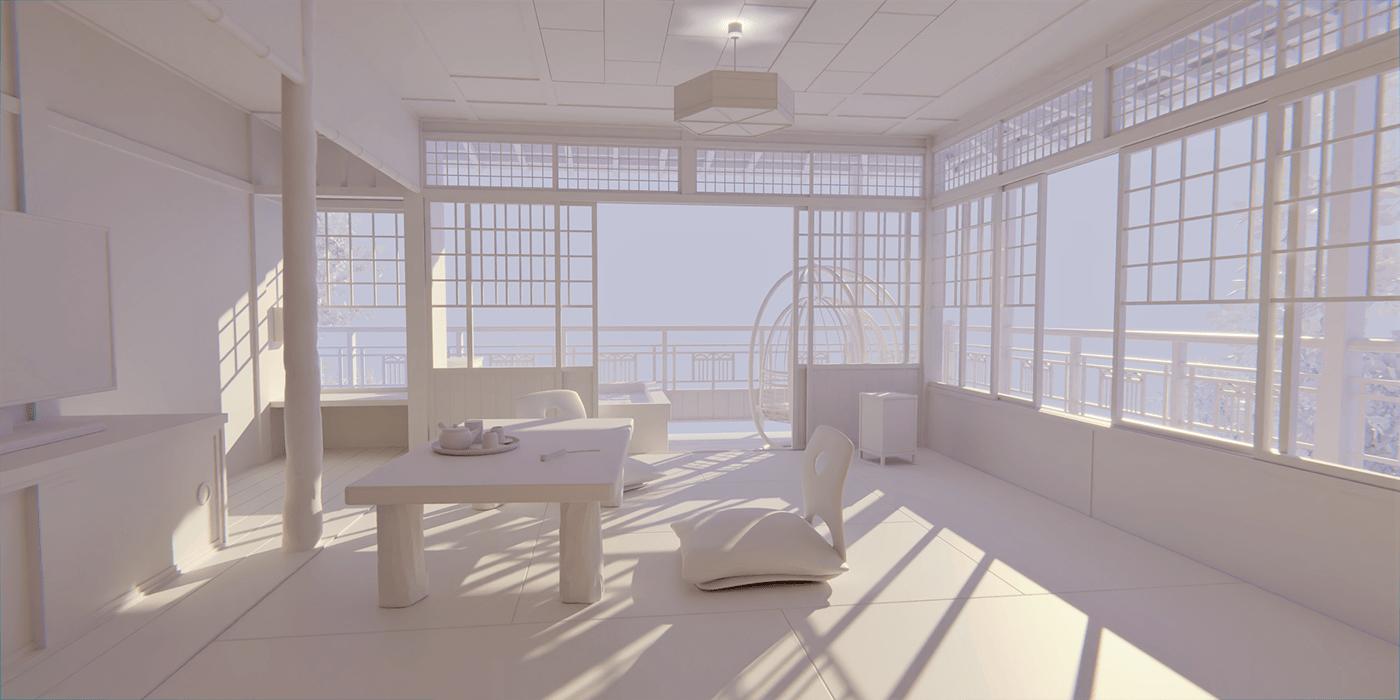 3D b3d background blender blender 3d blender3d ILLUSTRATION  japan Landscape modeling