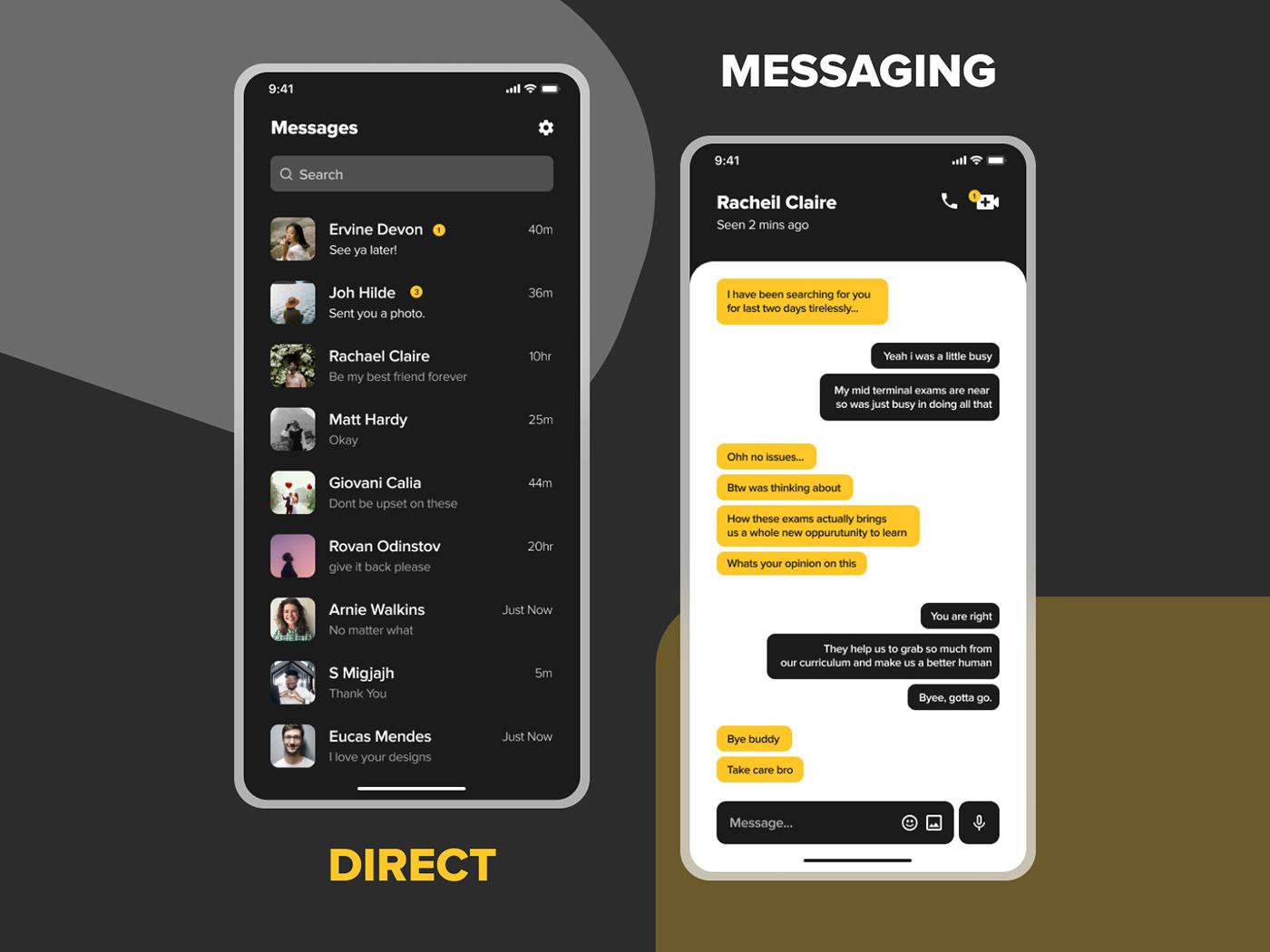 app ui chat app Design Inspiration Direct Messaging dribbble ui  Interaction design  Mobile UI UI UI ideas UI inspiration