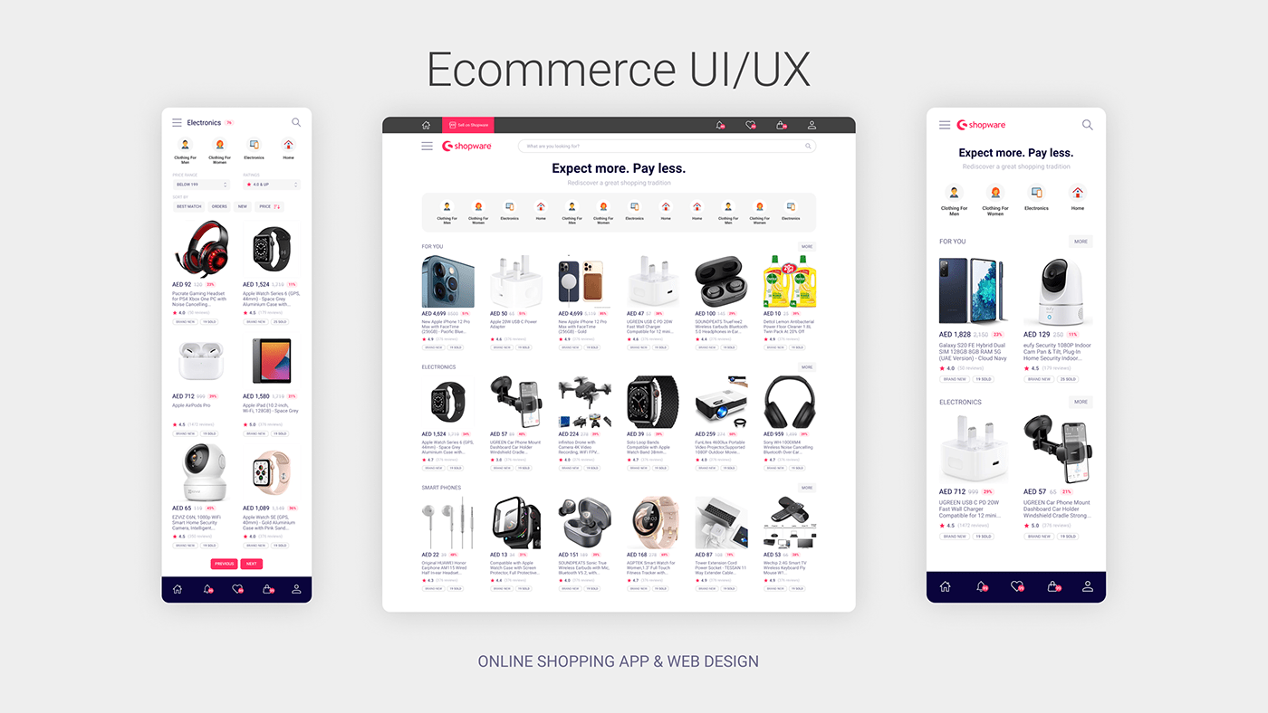 Ecommerce product design  Shopping UI/UX user experience user interface