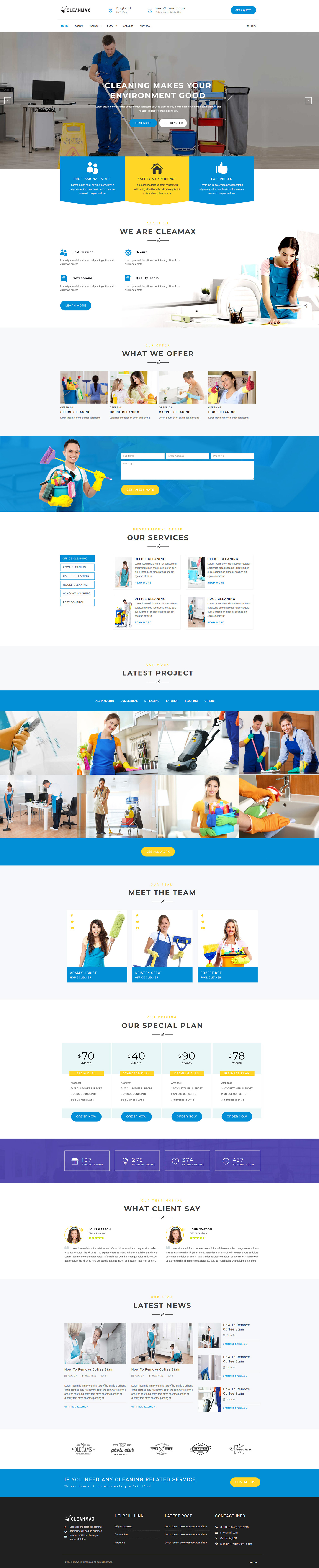 CleanMax- Cleaning Company Responsive Template - 1