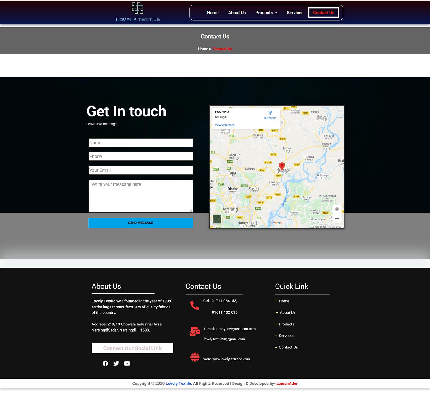 custom website developer ador lovely textile developer moder web design Textile company website Web Design  web developer zaman ador