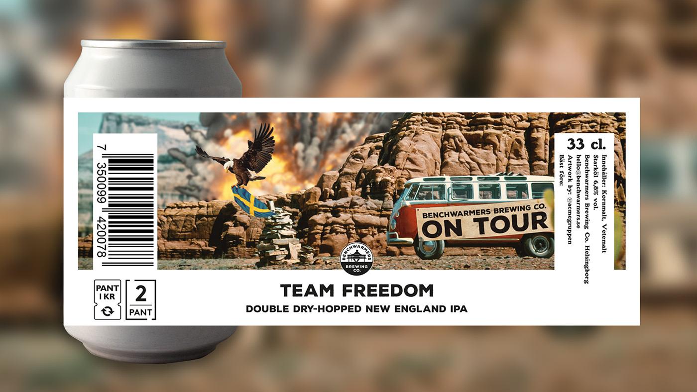 animation  beer beercan BenchWarmers Labeldesign productdesign rebranding