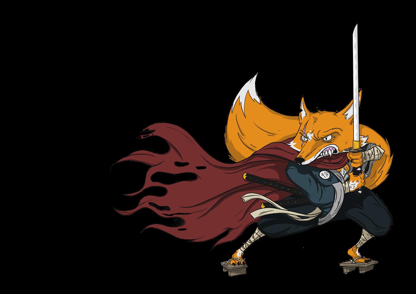 ILLUSTRATION  FOX ronin japanese 2D snow mountain katana