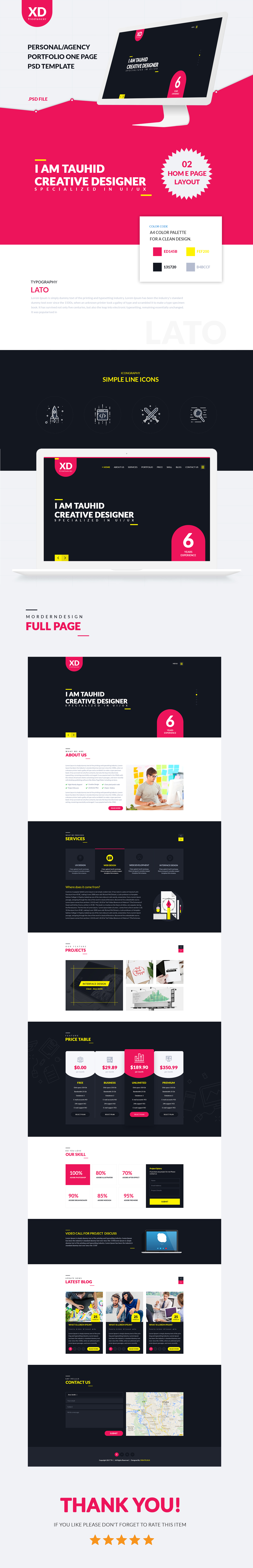 XD Freelancer- Personal/Agency Portfolio One Page HTML Template - 1