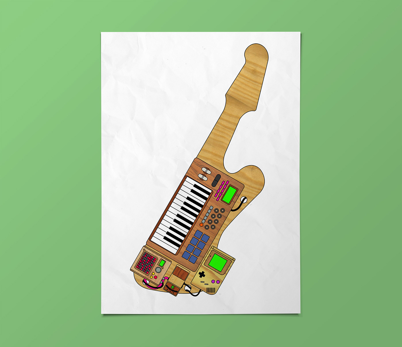 Image may contain: musical instrument, guitar and piano