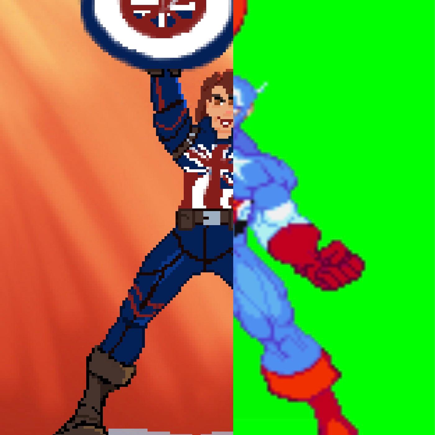 capcom captain carter captainamerica digitalart mcu peggy carter pixel Pixel art redesign video game