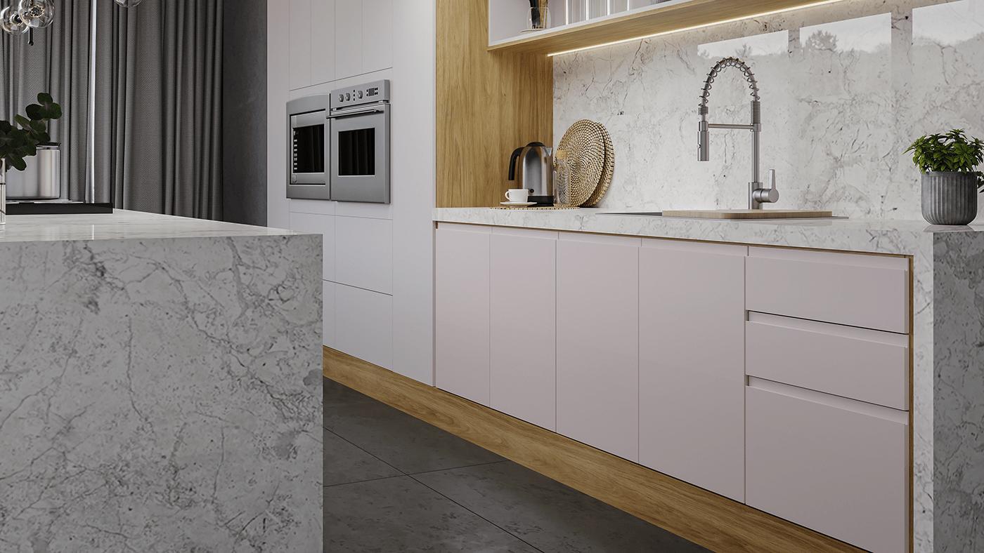 ArchDaily architect architecture archlovers archviz coronarendering design interior design  kitchen Render