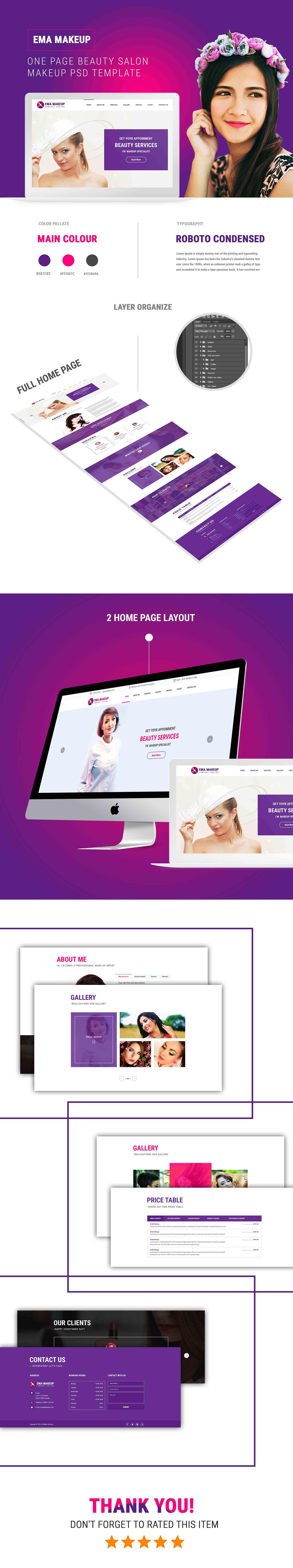 Ema Makeup - One Page Beauty Salon Makeup HTML Template - 1
