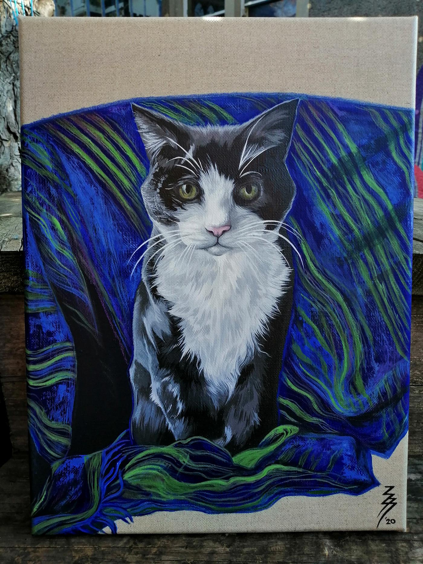 animal Cat cat art cat portrait feline realistic