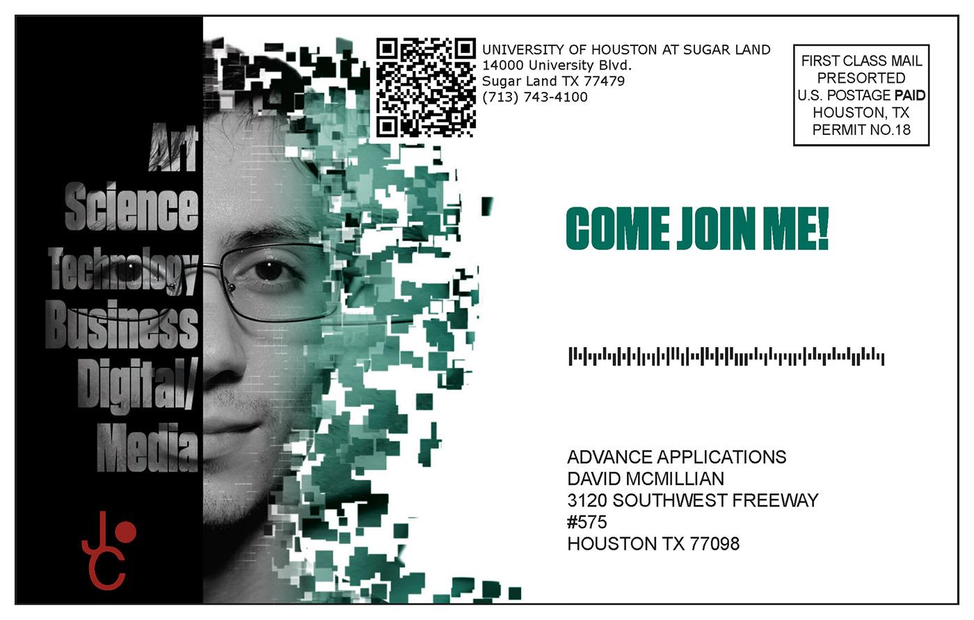 adobe design digital media Invitation postcard qr Technology University of Houston variable data xmpie