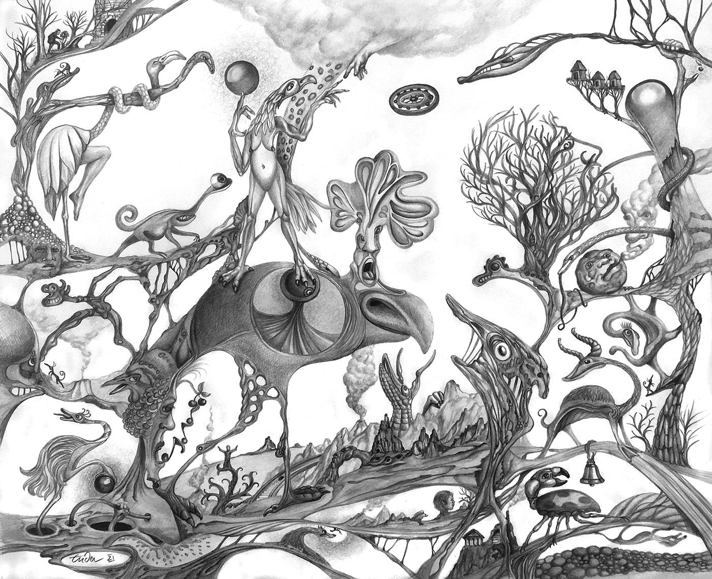 animaux imaginaires crayon dessin Dessin au crayon ILLUSTRATION  imaginaire noir et blanc Surrealisme surrealiste fantastique