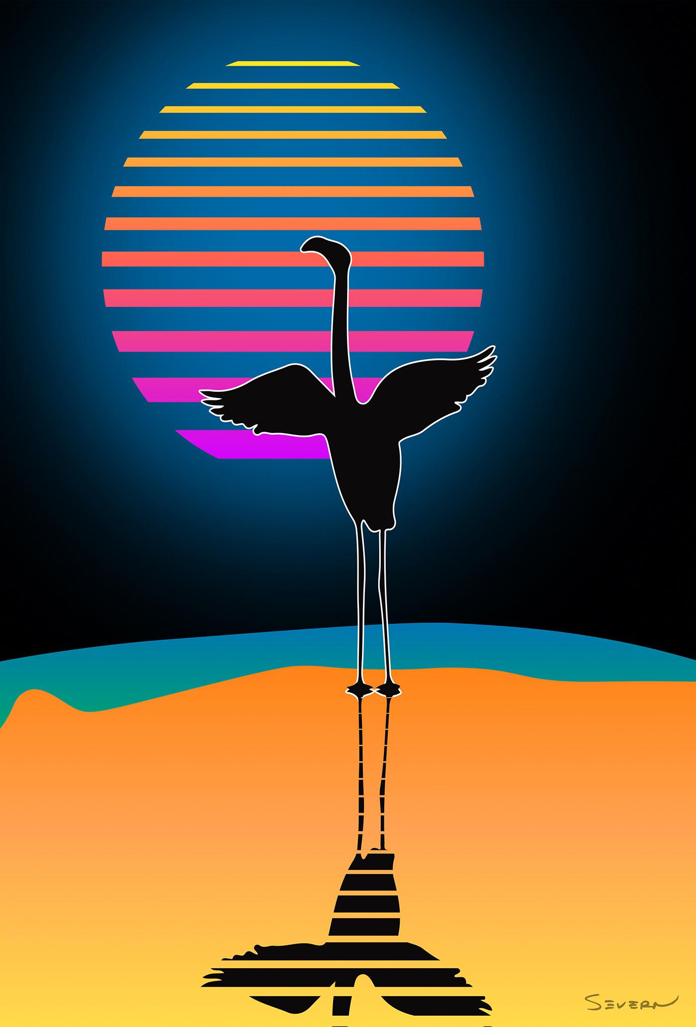 aesthetic artwork beach bird Digital Art  flamingo pastel summer Tropical vector