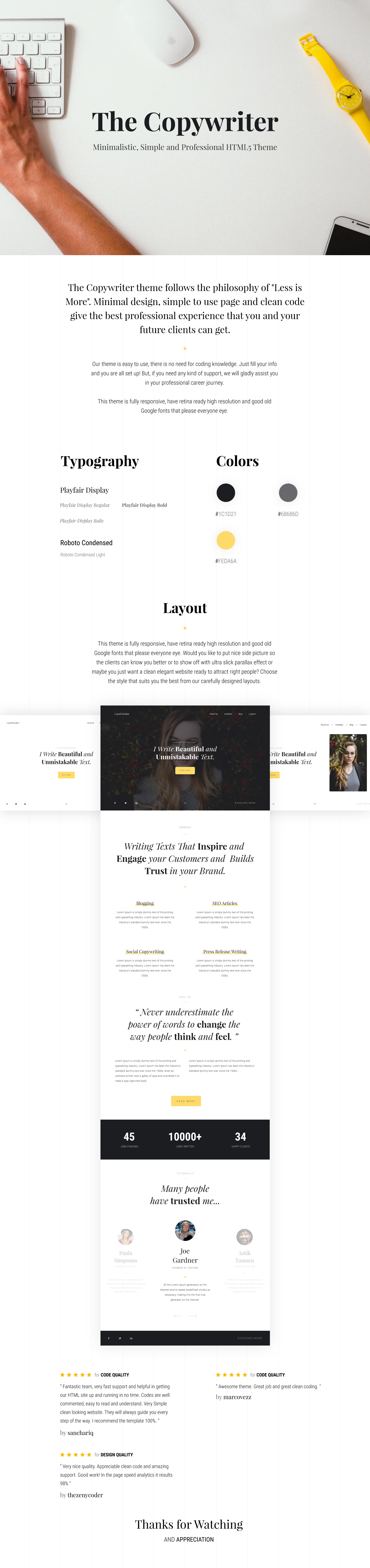 The Copywriter | Simple, Minimalistic, Clean and Professional HTML5 Theme - 1