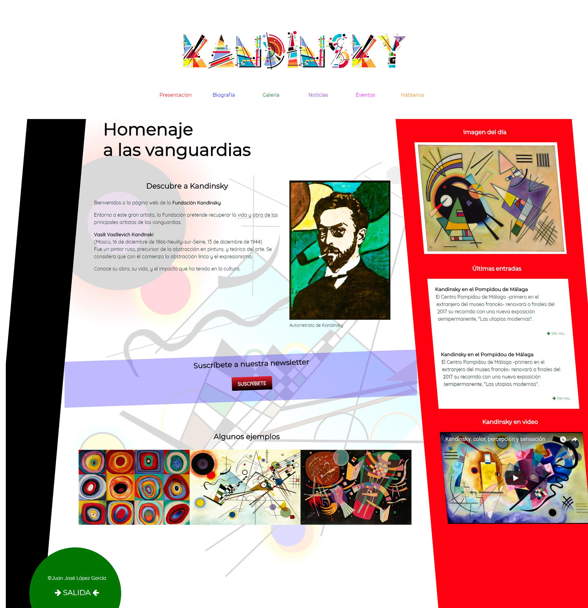 Vista completa de la página de inicio
