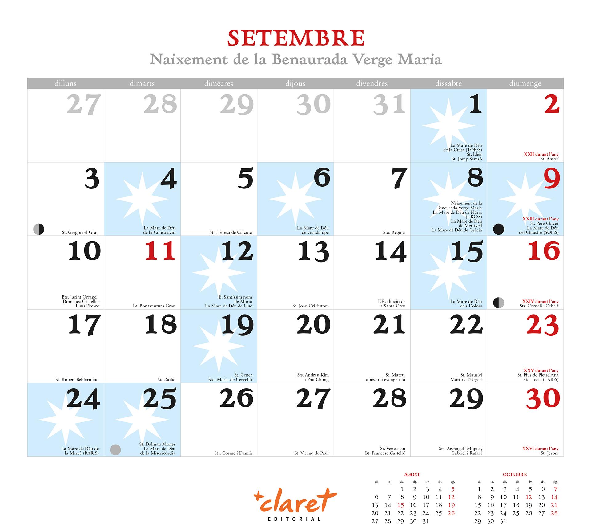 Ejemplo de un mes en el calendario