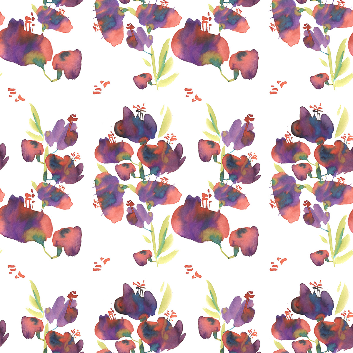 Flowers pattern watercolor