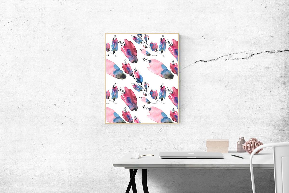 art botanic creative Flowers pattern plants watercolor