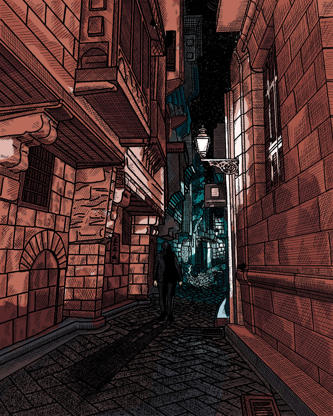 alley buildings color crosshatching exploring hatching ILLUSTRATION  Perspective Procreate Travel