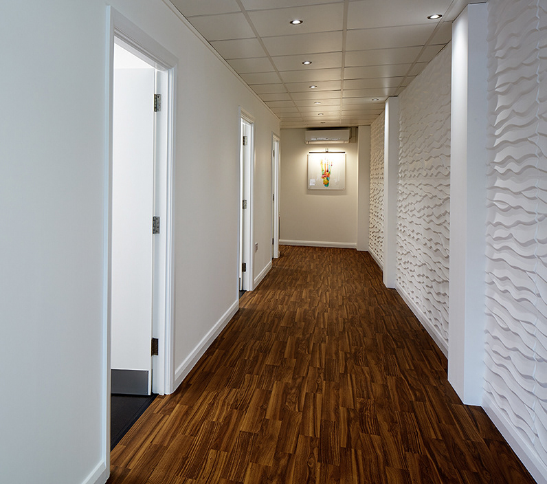 Corridor and consulting rooms, Feet etc.