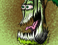 Contused Celery Cartoon Character Sketch