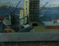 'Morning port view' oil on linen 39 x 63