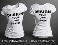 Female T-shirt Mock-up Photorealistic 3D Look PSD