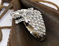 Stark Direwolf Ring, Game of Thrones inspired ring