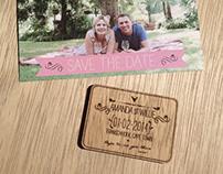 Save the date Postcard & Laser engraved reminder