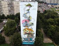 Street art in Moscow. ADNO