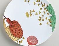 Odd Pods - surface design on plates