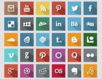 Long Shadow Flat Social Media Icons