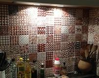 Fischer's Kitchen 2012. Hand painted majolica tiles.