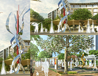 Modern Landscape design. Architectural Space.