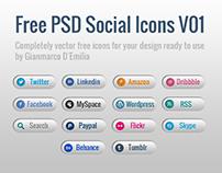 Free PSD Vector Social Icons V01