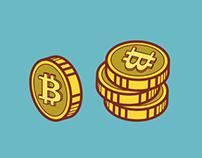 Bitcoins. Set of illustrations