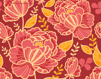 Kimono Florals - Vector Seamless Patterns