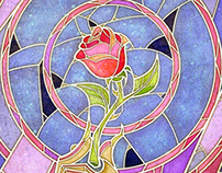 Beauty and the Beast - Rose Birthday Card