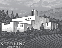 Sterling Vineyards Label Illustrated by Steven Noble