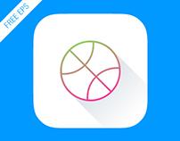 FREE iOS 7 App Icon Dribbble (animated) EPS 8 vector