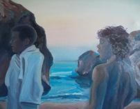 """last swim"" mixed media on linen canvas 97h x 105w"