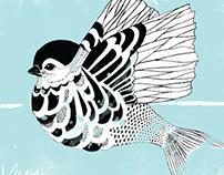 When a bird loves a fish--postcard illustration