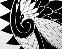 Polynesian inspired drawings.