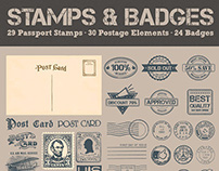 Badges, Passport & Postage Stamps