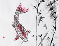Random Asian Brush Art