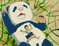 Moon Festival with giant panda baby