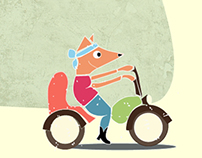 Fox on motorcycle