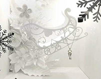 Fine jewellery Christmas window Dubai - hand made