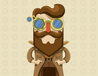 Steampunk character and elements.