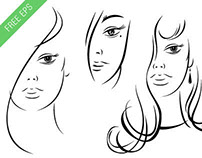 FREE EPS Beautiful Young Woman Face Black Ink Sketch