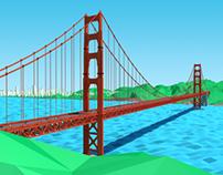 Low Poly Golden Gate Bridge